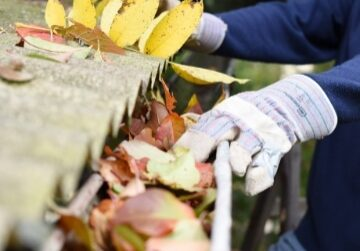Person with work gloves removing leaves from gutter